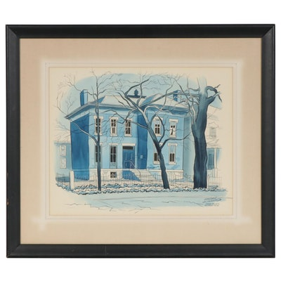 "Leland S. McClelland Watercolor and Ink Painting ""George Bellow's Boyhood Home"""