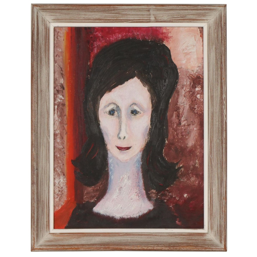Portrait of Woman Oil Painting, Mid to Late 20th Century