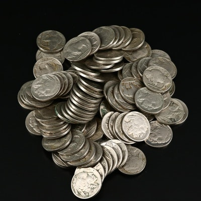 One Hundred Assorted Readable Date Buffalo Nickels