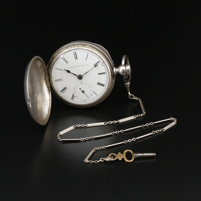 Elgin Sterling Silver Hunting Case Pocket Watch with Chain Fob