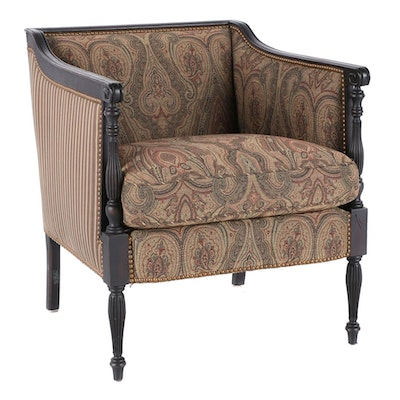 Hickory Chair Stained Wood Upholstered Armchair