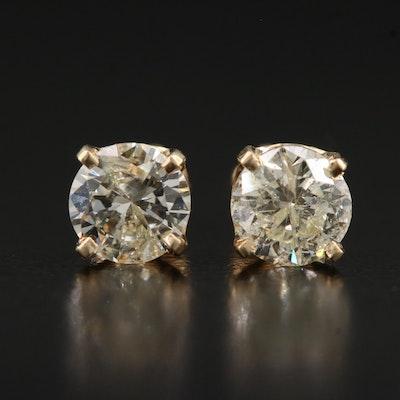 14K Gold 1.50 CTW Diamond Stud Earrings