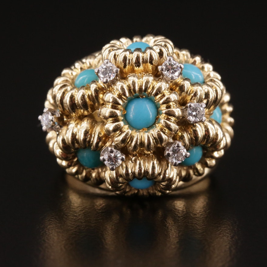 18K Turquoise and Diamond Ring Featuring Floral Motif and Palladium Accents