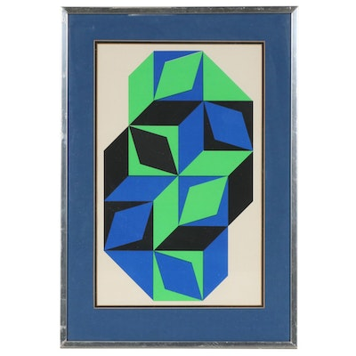 "Color Lithograph after Victor Vasarely ""L'Art Vivant"", Mid to Late 20th Century"