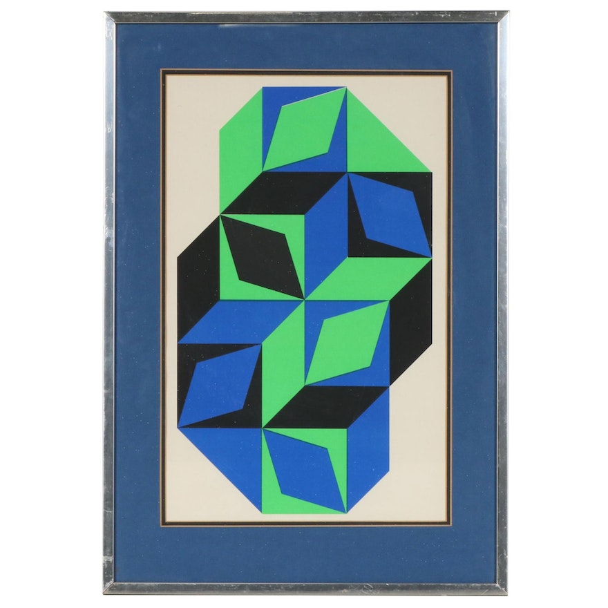 """Color Lithograph after Victor Vasarely """"L'Art Vivant"""", Mid to Late 20th Century"""