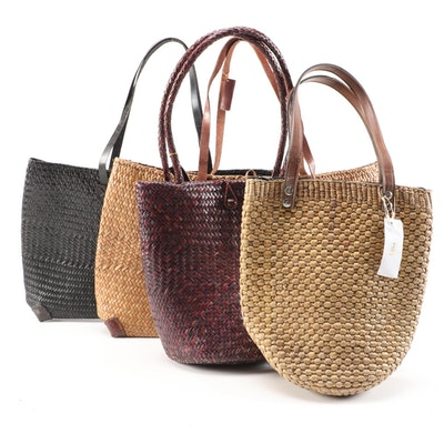 Four Handcrafted Rattan Tote Bags