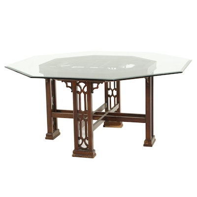 Chinese Style Glass Top Octagonal Dining Room Table
