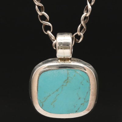 Mexican Sterling Silver Turquoise Pendant Necklace