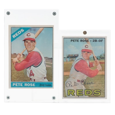 1966 and 1967 Topps Pete Rose Cincinnati Reds Baseball Cards