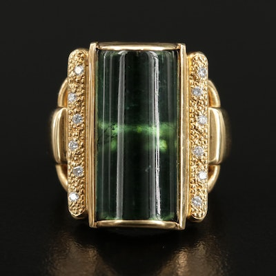 18K Gold 13.77 CT Green Tourmaline and Diamond Ring