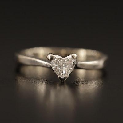 14K 0.25 Diamond Heart Solitaire Ring
