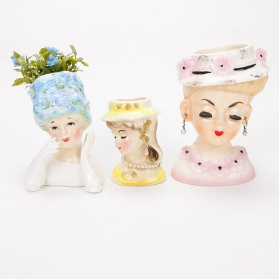 Three Ceramic Lady Head Vases Including Relpo, Mid-20th Century