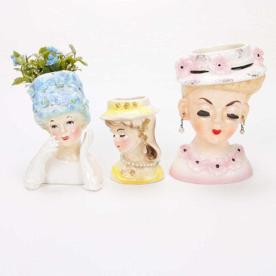Three Ceramic Lady Head Vases Including Relpo, Mid-20th Century