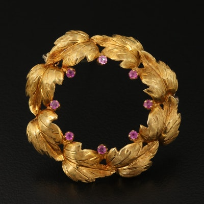 Vintage 18K Gold and Ruby Wreath Brooch