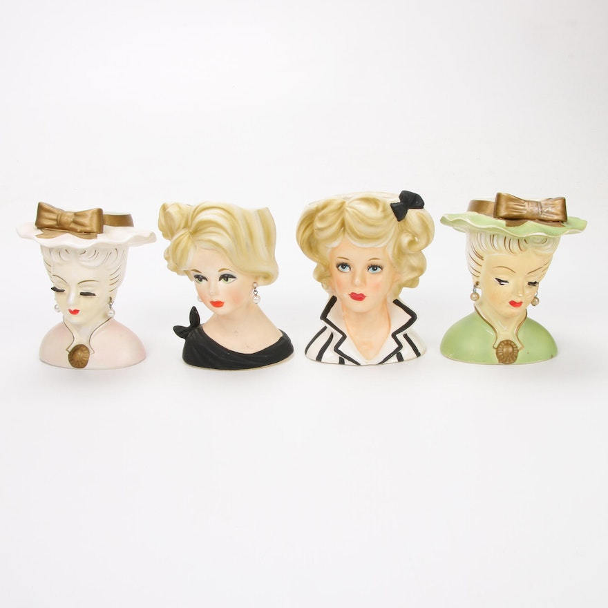 Four Ceramic Lady Head Vases Including Relpo, Mid-20th Century