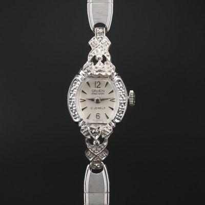 Gruen Precision Diamond Stem Wind Wristwatch