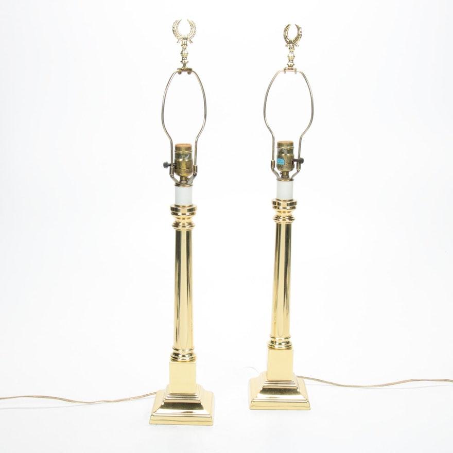 Baldwin Brass Column Candlestick Lamps with Wreath Finials