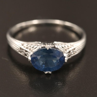 Edwardian Style Platinum 1.50 CT Blue Sapphire Ring