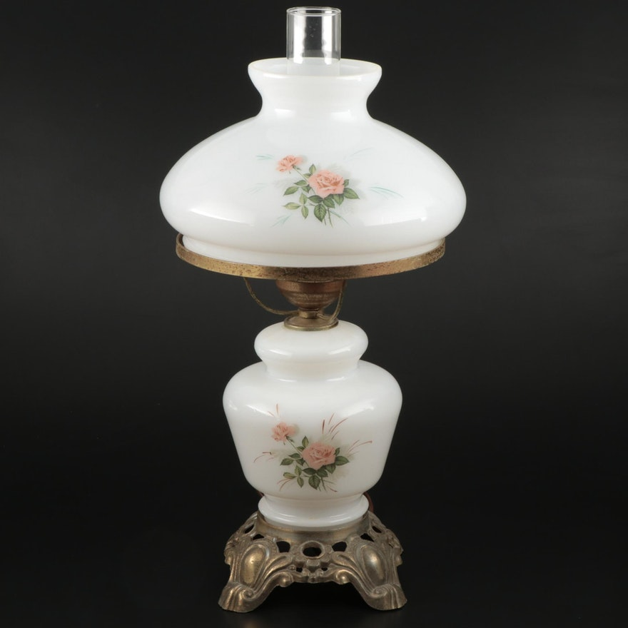 Hedco Milk Glass Parlor Lamp, Mid-20th Century
