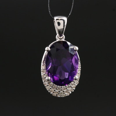 14K Gold Amethyst and Diamond Pendant