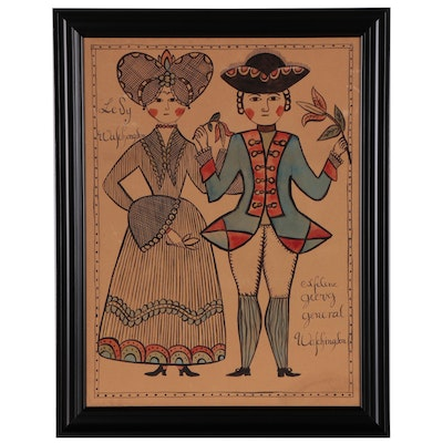 Folk Art Gouache Painting of George and Martha Washington, Late 20th Century