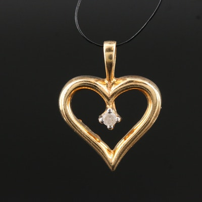 10K Gold Diamond Heart Pendant