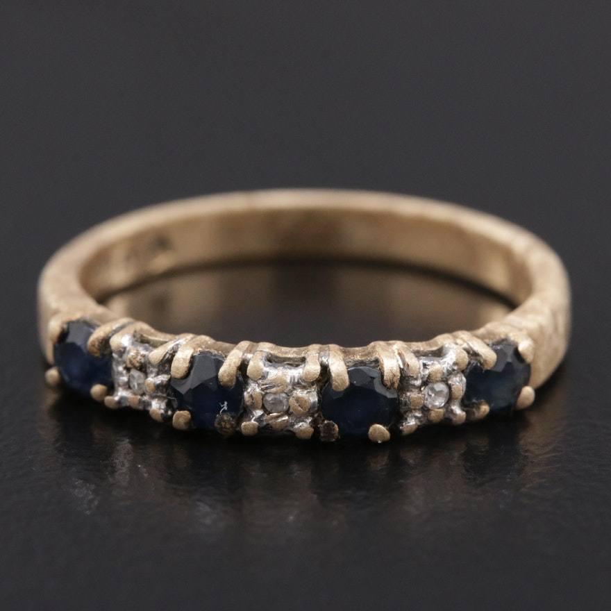 Vintage 10K Yellow Gold Blue Sapphire and Diamond Ring