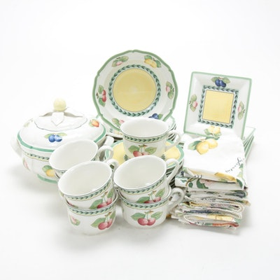 "Villeroy & Boch ""French Garden Fleurence"" Porcelain Dinnerware and Napkins"