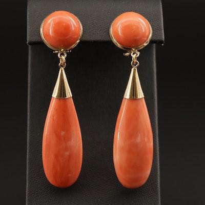 Vintage 18K Coral Drop Earrings