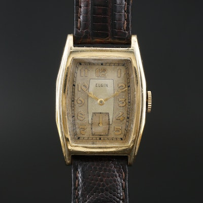 1937 Elgin Tank Shaped Gold Filled Wristwatch
