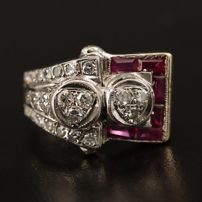 Retro 14K Diamond and Ruby Ring