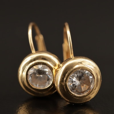 14K Cubic Zirconia Button Earrings