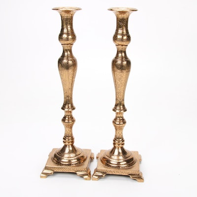 Engraved Bronze Candlesticks, Pair