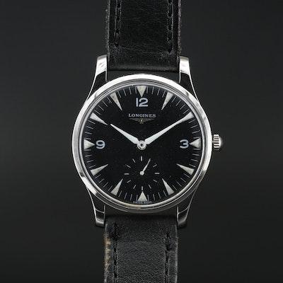 1945 Longines Stainless Steel Stem Wind Wristwatch