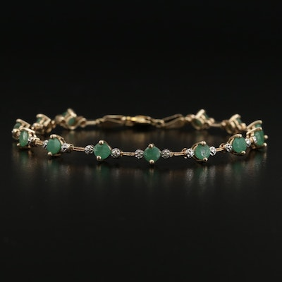 10K Emerald and Diamond Line Bracelet