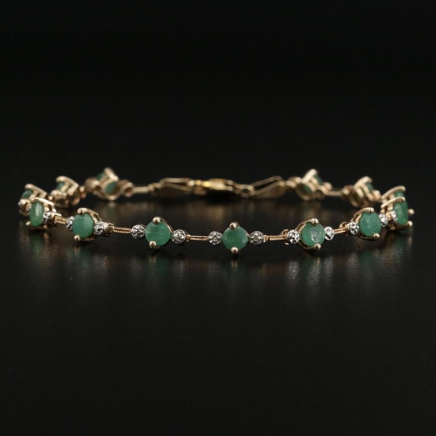 10K Emerald and Diamond Line Bracelet