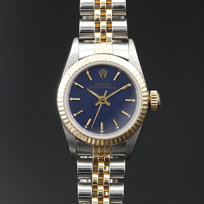 1987 Rolex Oyster Perpetual 18K Gold and Stainless Steel Automatic Wristwatch