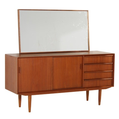 Svend Masden for Falster Teak Sideboard and Mirror, Mid 20th Century