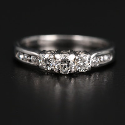 14K Diamond Past, Present Future Ring