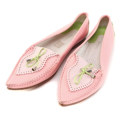 Praerie Pink and Green Leather Pointed Toe Flats