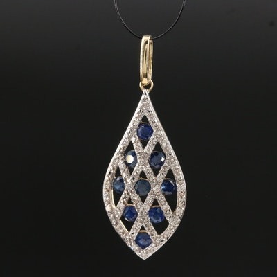 14K Sapphire and Diamond Lattice Pattern Pendant