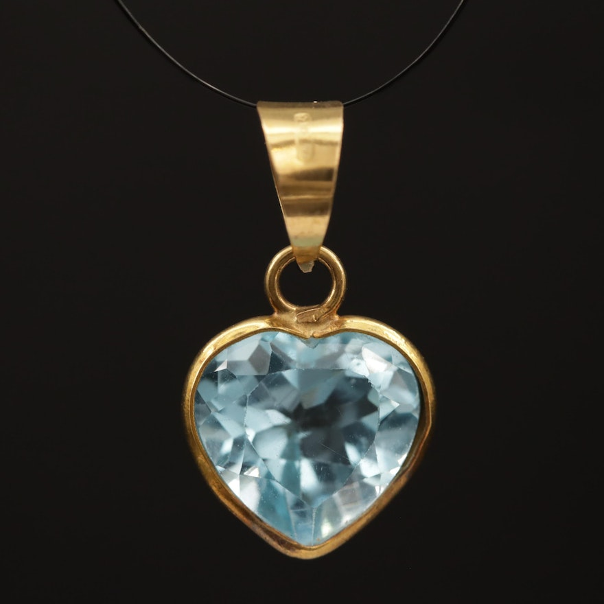 18K Bezel Set Heart Shaped Blue Topaz Pendant