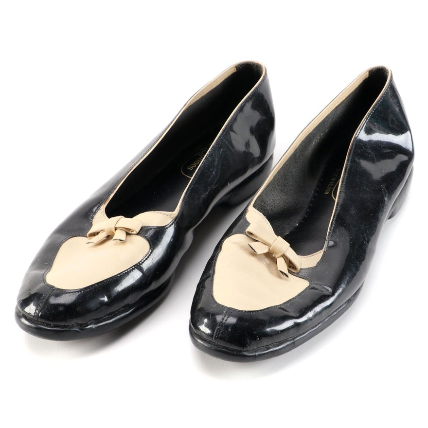 Belgian Shoes Black and Beige Patent Leather Loafers with Bow