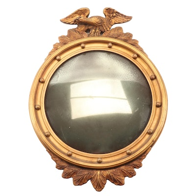 Federal Style Eagle Giltwood and Gesso Convex Mirror, Mid-20th Century