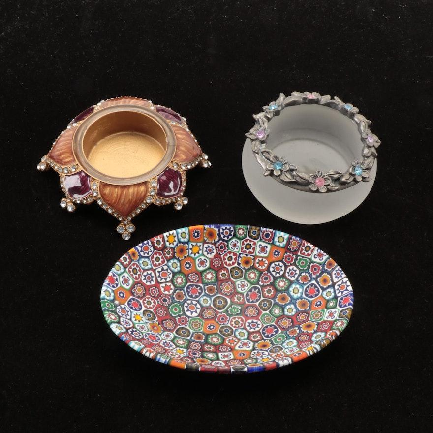 Vetro Artistico Millefiori Glass Dish with Enamel and Glass Votive Holders