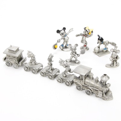 "Walt Disney Rail Road, ""Steamboat Willie"" and Other Pewter Disney Figurines"