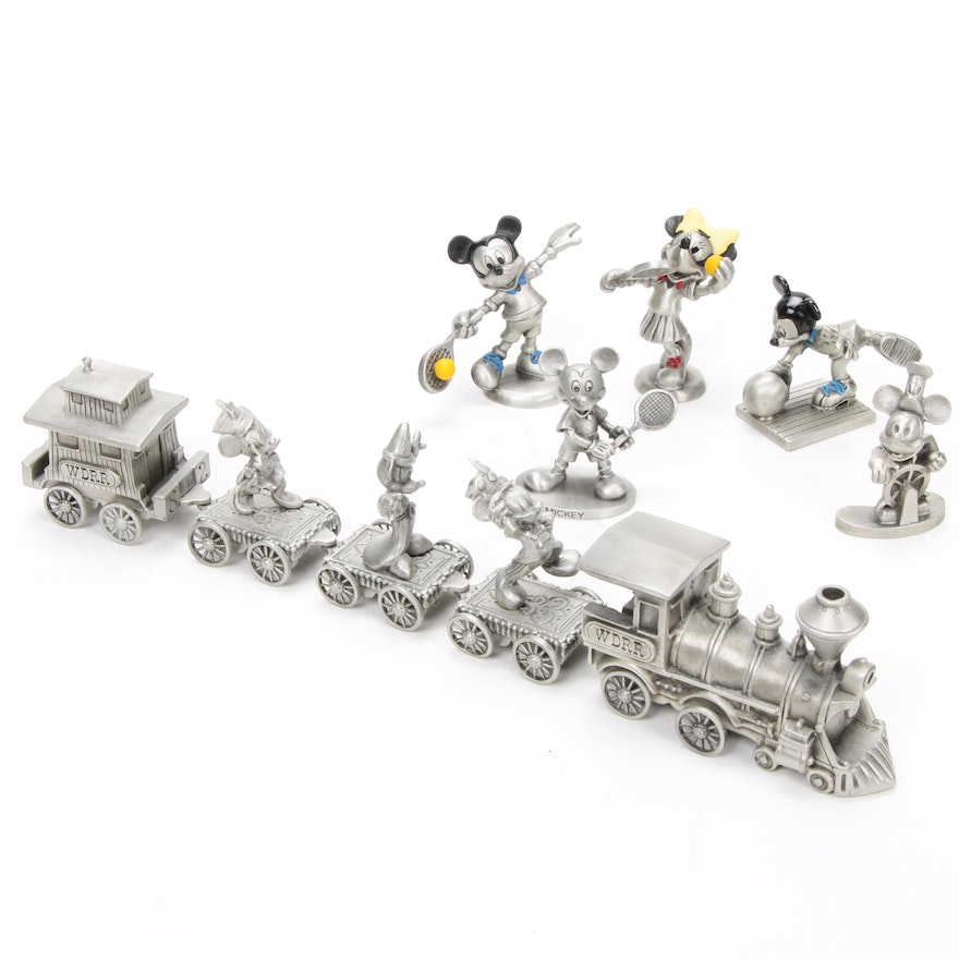 """Walt Disney Rail Road, """"Steamboat Willie"""" and Other Pewter Disney Figurines"""
