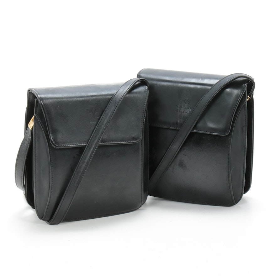 Pair of Valentino di' Pietro Flap Front Shoulder Bags in Black Leather