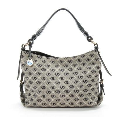 Dooney & Bourke Shoulder Bag in Monogram Canvas and Black Leather