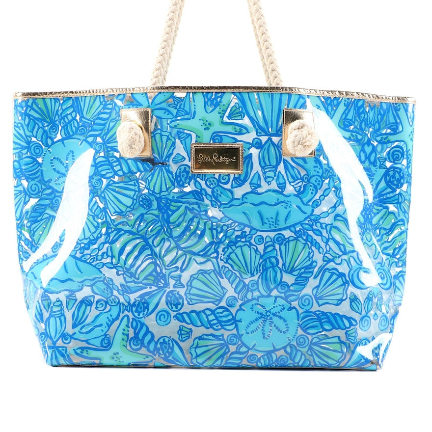 Lilly Pulitzer Blue Nautical PVC Tote Bag